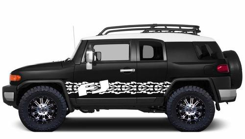 Custom-Vinyl-Decal-Tire-Tracks-Wrap-Kit-for-Toyota-FJ-Cruiser-07-14-White