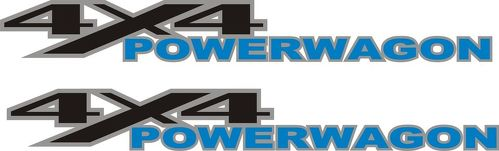 2 DODGE RAM 4x4 Blue POWER WAGON TRUCK Vinyl Decals Stickers