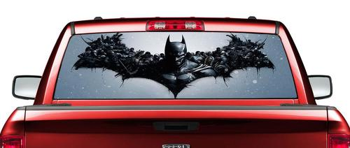 Dark-Knight-BATMAN-superhero-comics-Bruce-Wayne-Rear-Window-Wrap-Graphic-Decal-Sticker-Truck-SUV-RAM-Tundra-F150
