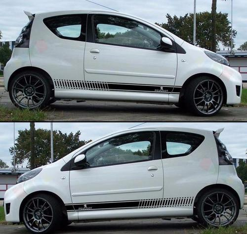Decal Sticker Stripes Kit For PEUGEOT 107 Spoiler Bumper Exhaust Light Front Lip