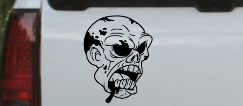Skulls Bloody Zombie Head Truck Window Laptop Decal Sticker