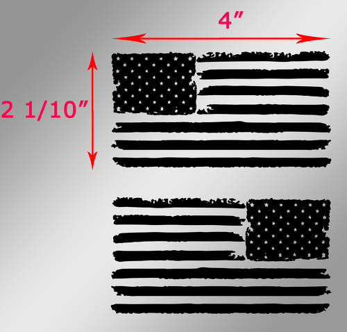 2 Jeep USA Flag Distressed Wrangler Left and Right decals 4 inch
