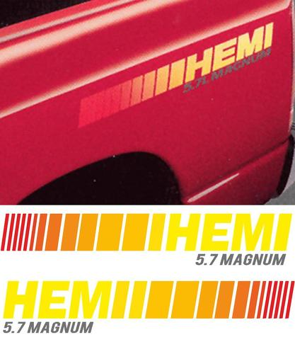 Dodge HEMI 5.7 L Liter MAGNUM Truck HUGE 2 BEDSTRIPE STRIPE KIT Vinyl Decal Sticker
