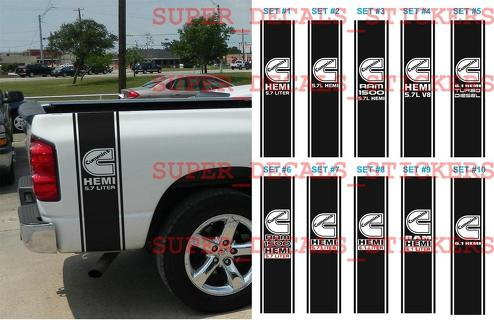 Dodge Ram 1500 Cummins HEMI 5.7 6.1 L Liter Truck HUGE 2 BEDSTRIPE STRIPE KIT Vinyl Decal Sticker 1 of 10 sets