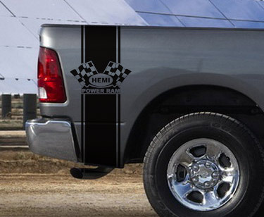 Dodge Ram Truck HEMI POWER RAM 2 STRIPE KIT Vinyl Decal Sticker