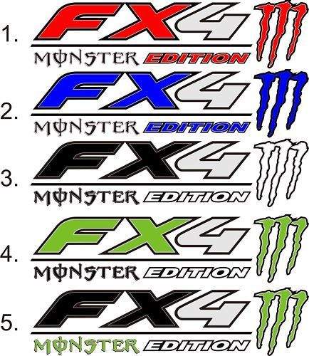 2 FORD FX4 F150 F250 F350 MONSTER Edition TRUCK Vinyl Decal Stickers 14