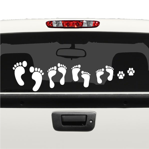 FOOT PRINT FAMILY CAR DECAL STICKERS