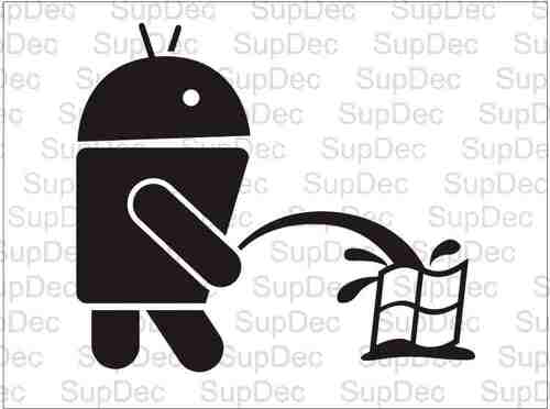 Android Robot On Piss On Windows Decal Sticker #2