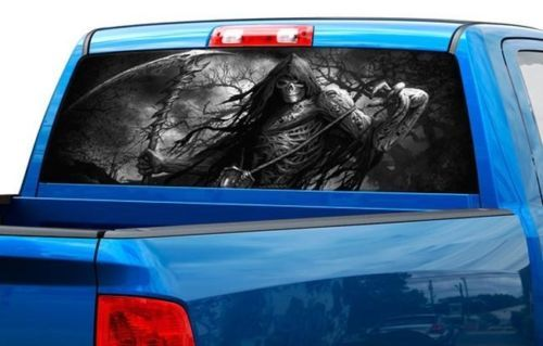 Grim reaper skull color or B/W Rear Window Graphic Decal Sticker Truck SUV