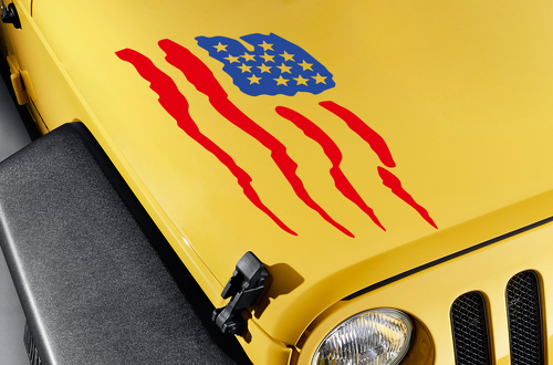 Hood USA American Flag Stars Stripes Truck TJ CJ JK LJ Vinyl Sticker Decal