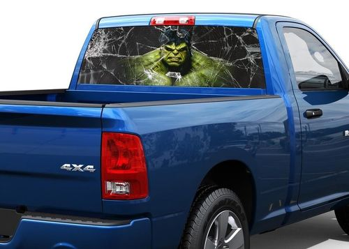 Hulk and broken glass Rear Window Decal Sticker Pick-up Truck SUV 2