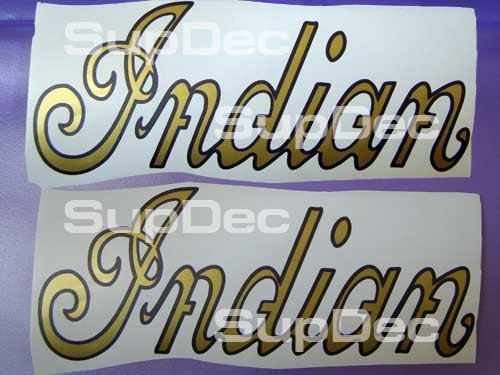 Indian Motorcycle Gold Script Gas Tank 2 Decals