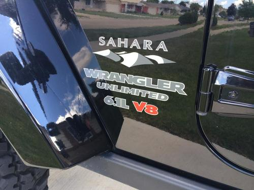 Jeep SAHARA 6.1L V8 Mountain Wrangler Unlimited CJ TJ YK JK XJ All Colors Sticker Decal