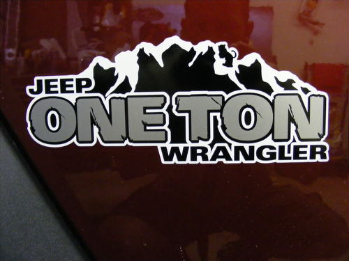 2 Jeep ONE TON Rubicon Wrangler TJ YK JK XJ Hood Sticker Decal