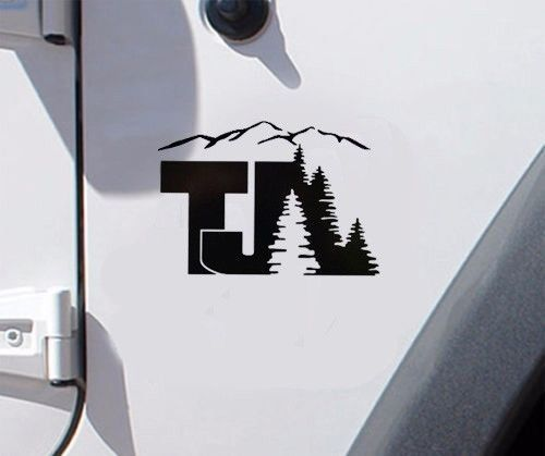 Jeep TJ tree mountain Decal Wrangler Decals Stickers Logo-pick color