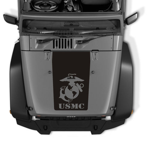 Jeep Wrangler Blackout USMC logo vinyl hood Decal TJ LJ JK Unlimited