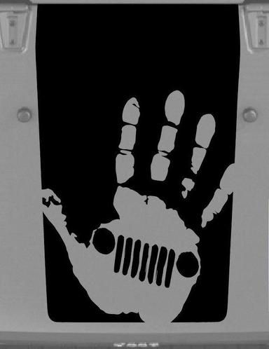 Jeep Hood Decal  Wrangler Large Blackout Hood Vinyl Rubicon Sahara JK LJ TJ