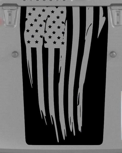USA flag Jeep Wrangler Decal Blackout Hood Vinyl Matte Black Colors Sticker JK LJ TJ