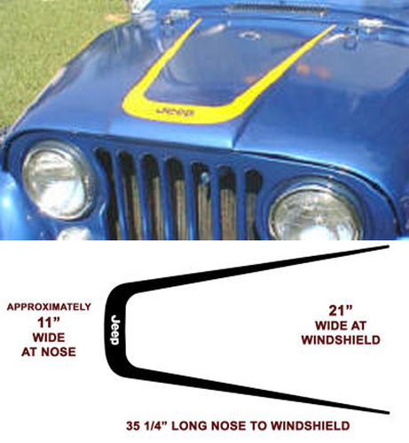 Jeep Wrangler Hood  CJ XJ YJ TJ Vinyl Decal Sticker
