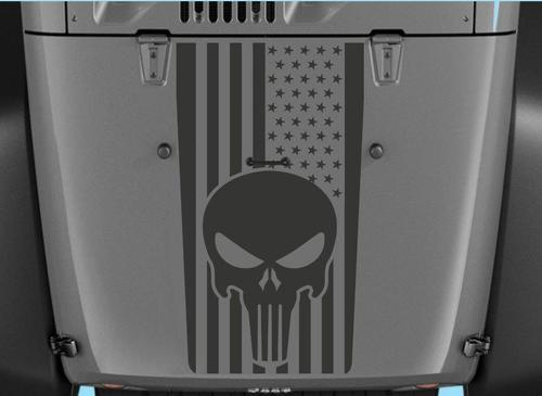 Jeep Decals Jeep Wrangler Blackout Punisher Flag Vinyl Hood Decal