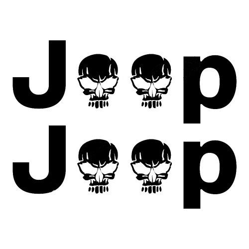 2 Jeep Wrangler Skull Rubicon YK JK XJ Vinyl Sticker Decals