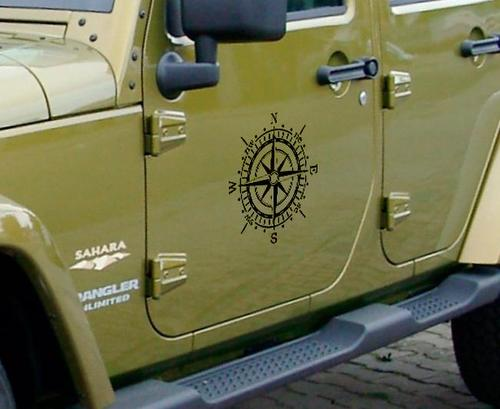 Pair of Compass door side 14'' vinyl decal sticker fits to WRANGLER Rubicon