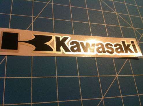 Kawasaki motorcycle wheel helmet decal sticker