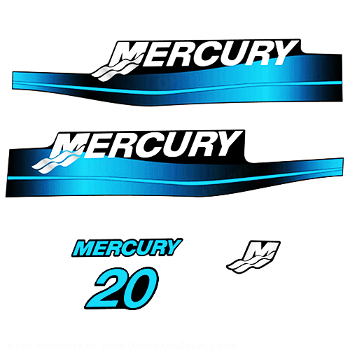 Mercury 20HP 2-Stroke Decal Kit - Blue Sticker Decal