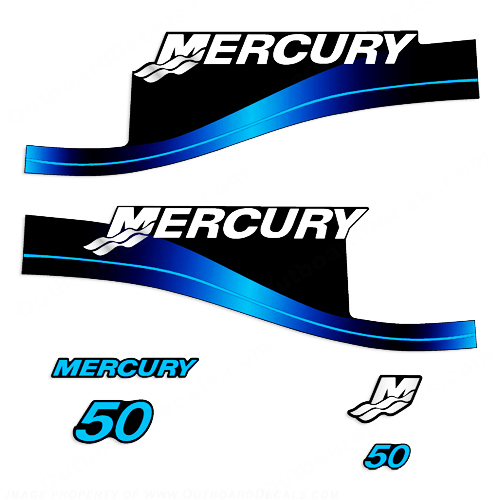 Mercury 50HP 2-Stroke Decal Kit - Blue Sticker Decal