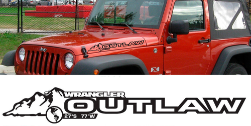 PAIR Jeep Decal OUTLAW WRANGLER Hood Decal rubicon sahara JK CJ TJ YJ