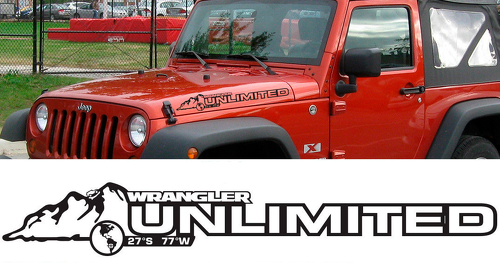 PAIR Jeep Decal UNLIMITED WRANGLER Hood Decal rubicon sahara JK CJ TJ YJ
