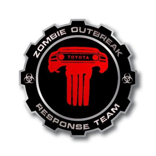 PAIR ZOMBIE OUTBREAK RESPONSE TEAM Toyota FJ Cruiser side vinyl stickers decals