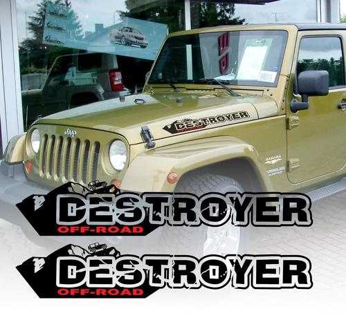 Pair of DESTROYER Wrangler Decal set Jeep stickers hood fender graphic TJ JK CJ YJ rubicon