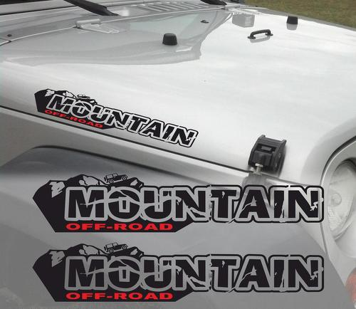 Pair of Mountain off road Wrangler Decal set Jeep stickers hood fender graphic TJ JK CJ YJ rubicon one color