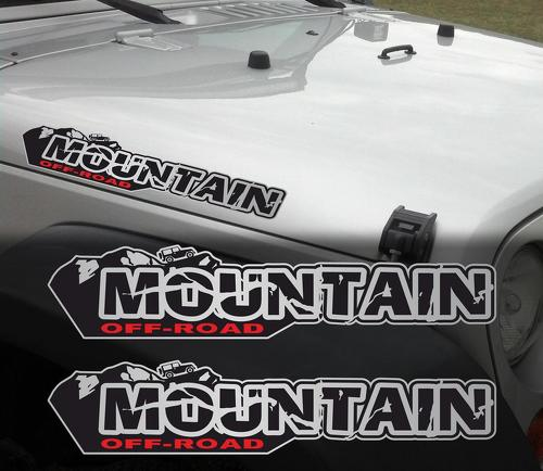Pair of Mountain off road Wrangler Decal set Jeep stickers hood fender graphic TJ JK CJ YJ rubicon