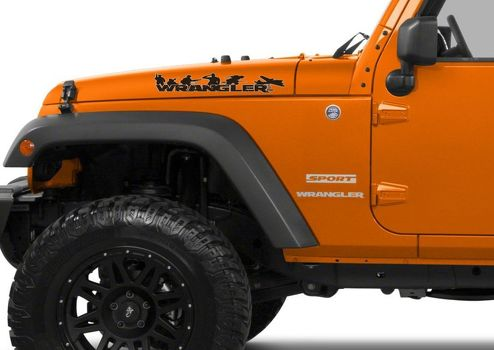 Pair of Wrangler Decal set Jeep stickers hood fender graphic TJ JK CJ YJ rubicon