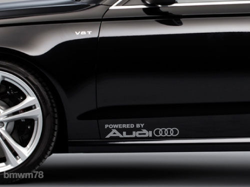 2 Powered by AUDI Rings Trunk Decal Sticker A8 S4 S5 Q3 Q5 Q7 TT