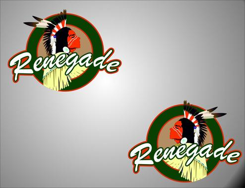 2 RENEGADE left / right logo Jeep Wrangler Vinyl Sticker Decals