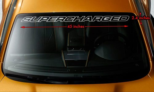 SUPERCHARGED V8 MUSCLE CAR Premium Windshield Banner Vinyl Decal Sticker 45x2.4