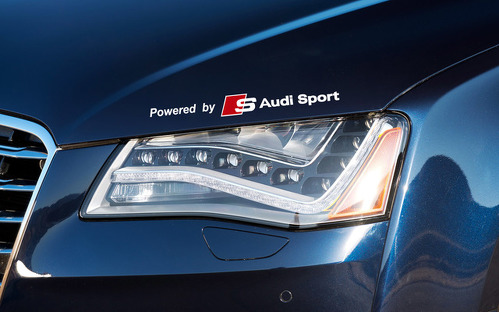 Powered by Audi Sports sticker decal A4 A5 A6 A7 S8 TT Q5 Q7 Emblem Logo