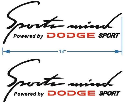 2 Sports Mind Powered by DODGE Decal sticker 18 inch