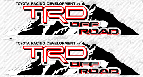 2 TOYOTA TRD OFF  Mountain  TRD racing development side vinyl decal sticker 4