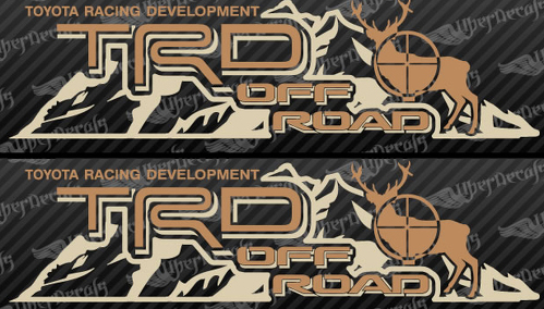 2 TOYOTA TRD OFF  Mountain DEER TRD racing development side vinyl decal sticker