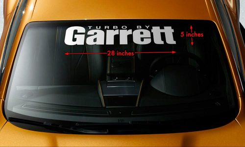TURBO BY GARRETT BOOSTED Windshield Banner Vinyl Decal Sticker 28