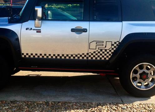 Toyota FJ Cruiser side Door checkered stripes vinyl Decal Sticker