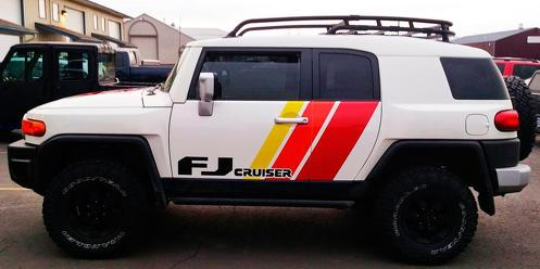 Toyota FJ Cruiser side Door three stripes vinyl Decal Sticker with logo
