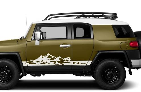 Toyota FJ Cruiser Mountains Side Trim Strobe Stripes Vinyl Decal Graphics LOGO
