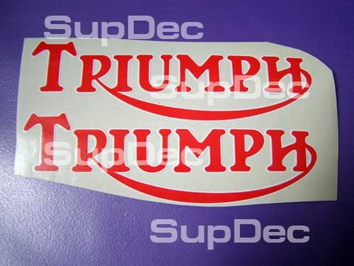 TRIUMPH motorcycles 2 Vinyl red white Logo Decal
