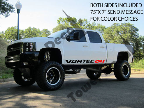 2 VORTEC MAX rocker panel door runner decals Chevy Silverado GMC Sierra 75