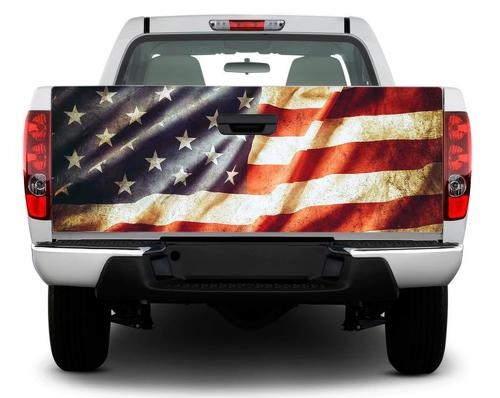USA flag patriotic vintage Tailgate Decal Sticker Wrap Pick-up Truck SUV Car